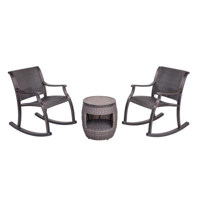 3-Piece Outdoor Patio Bistro Set with 2 Wicker Rocking Chair and 17.3 in. Round Crafttech Top Wicker Coffee Table
