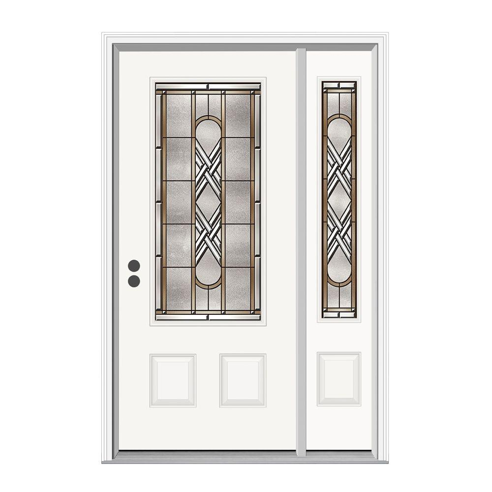 JELD-WEN 52.125 in. x 81.75 in. 3/4 Lite Ascot Primed Steel Prehung Right-Hand Inswing Front Door with Right Hand Sidelite
