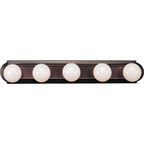 5-Light Indoor Antique Bronze Movie Beauty Makeup Hollywood Bath or Vanity Light Bar Wall Mount or Wall Sconce