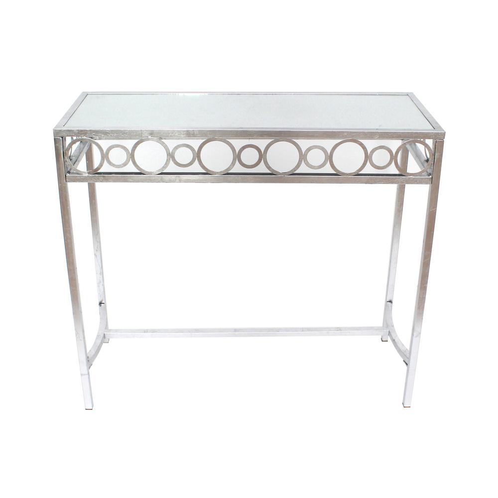 Silver metal mirror console table af 108 the home depot null silver metal mirror console table geotapseo Image collections