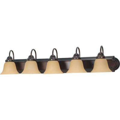 5-Light Mahogany Bronze Vanity Light with Champagne Linen Washed Glass Shade