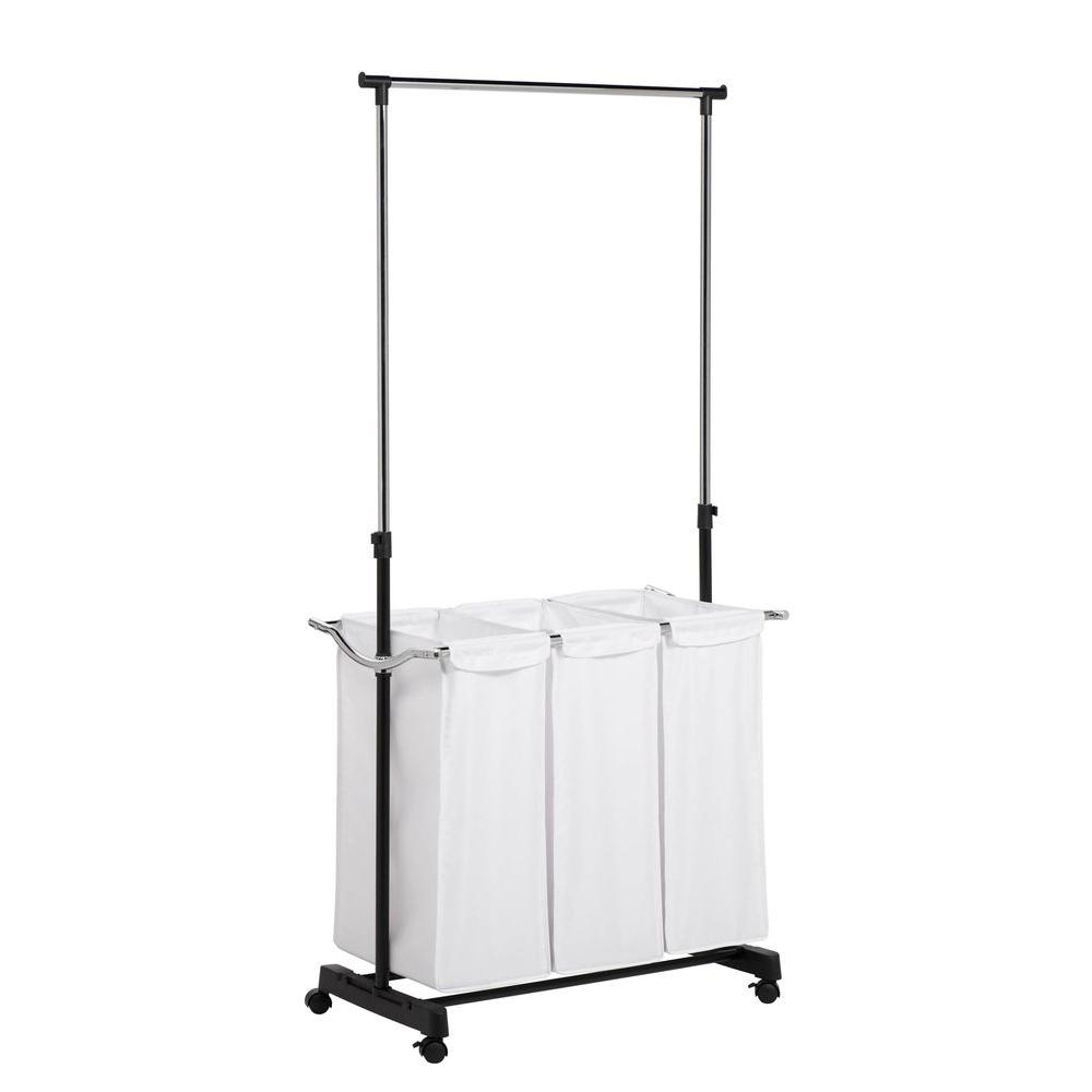Honey Can Do Rolling Laundry Cart With Hanging Bar Srt 01237 The