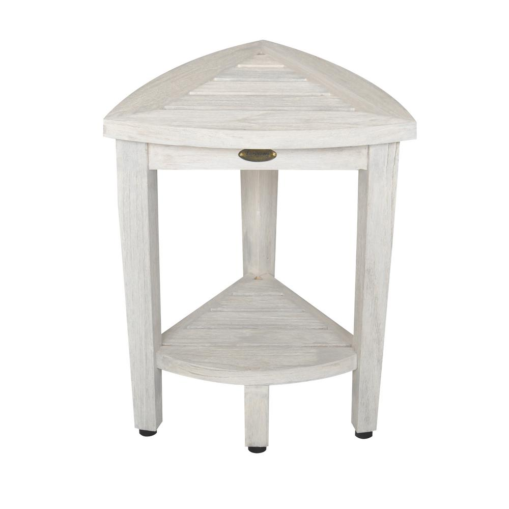 Oasis Compact Teak Corner Shower Bench with Shelf in White Wash ...