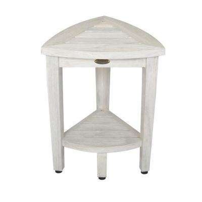 Oasis Compact Teak Corner Shower Bench with Shelf in White Wash