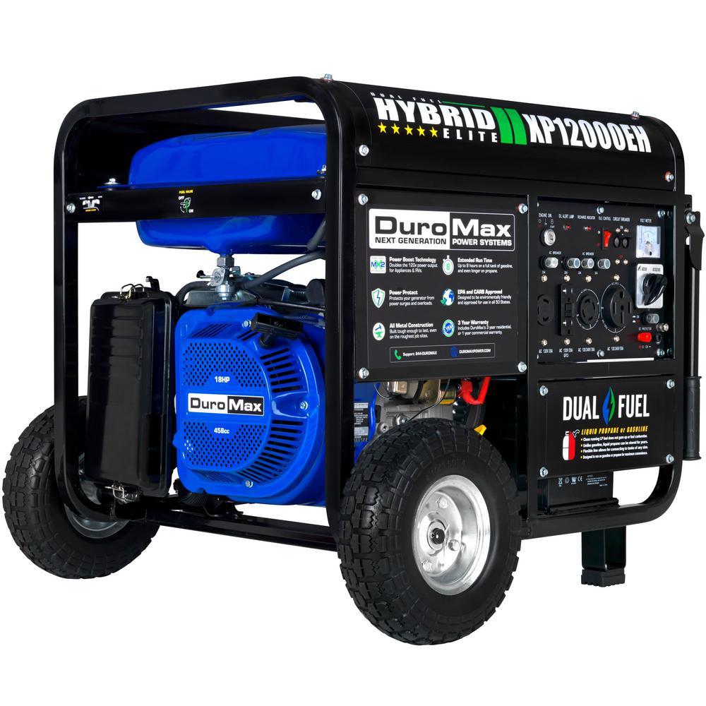 12000-Watt/9500-Watt Electric Start Dual Fuel Gas Propane Portable Generator, Home Back Up/RV Ready, 50 State Approved