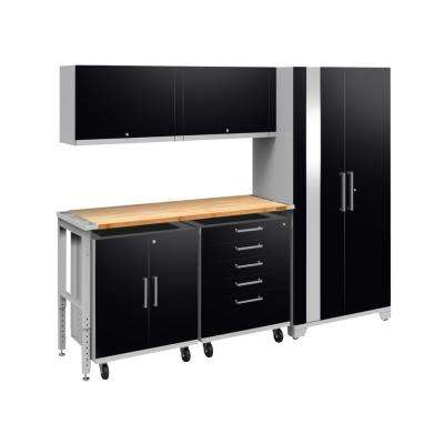 Performance Plus 2.0 80 in. H x 97 in. W x 24 in. D Steel Garage Cabinet Set in Black (6-Piece) with Bamboo Worktop