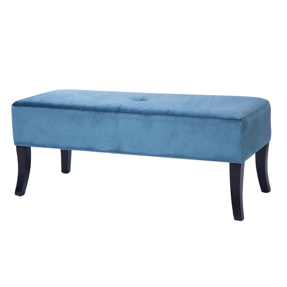Antonio 46 in. Wide Bench in Blue Velvet