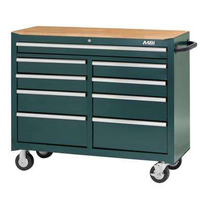 52 in. 9-Drawer Center Roller Cabinet Tool Chest in Green