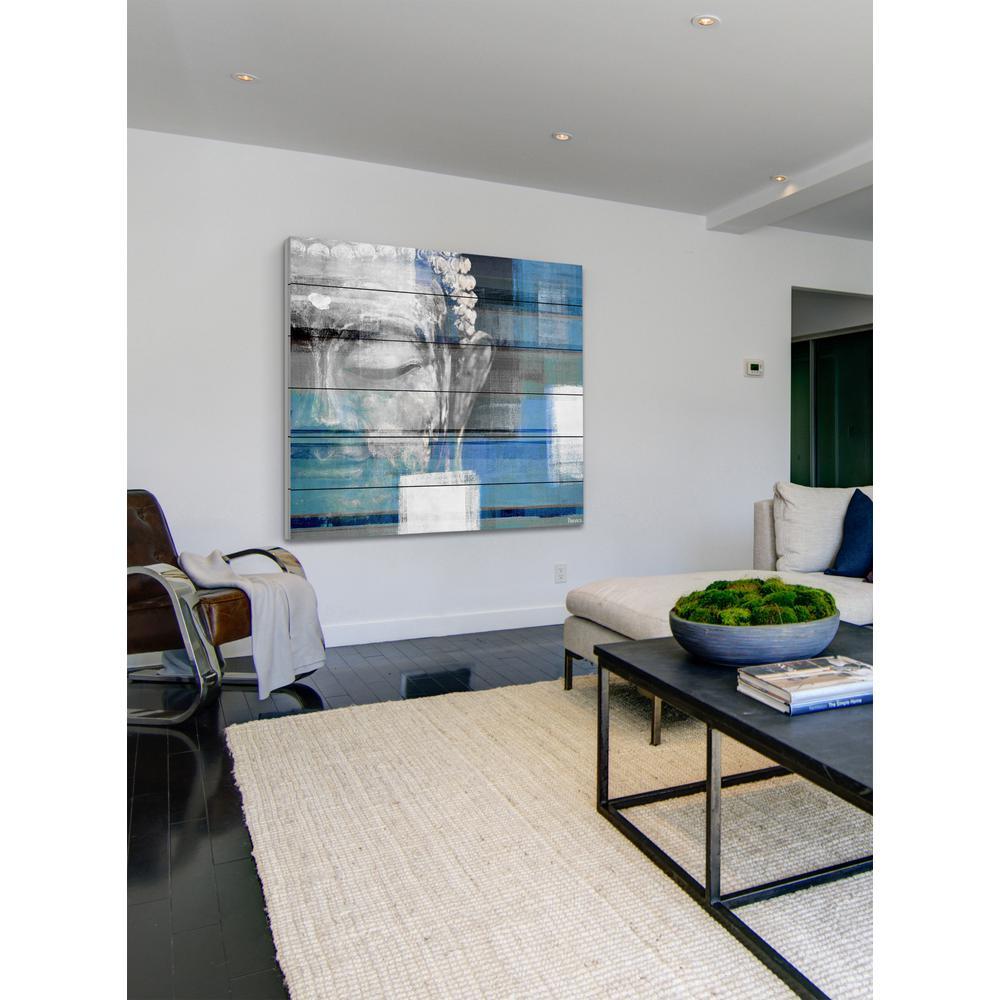 "32 in. H x 32 in. W ""Blue Buddha"" by Parvez Taj Printed White Wood Wall Art"