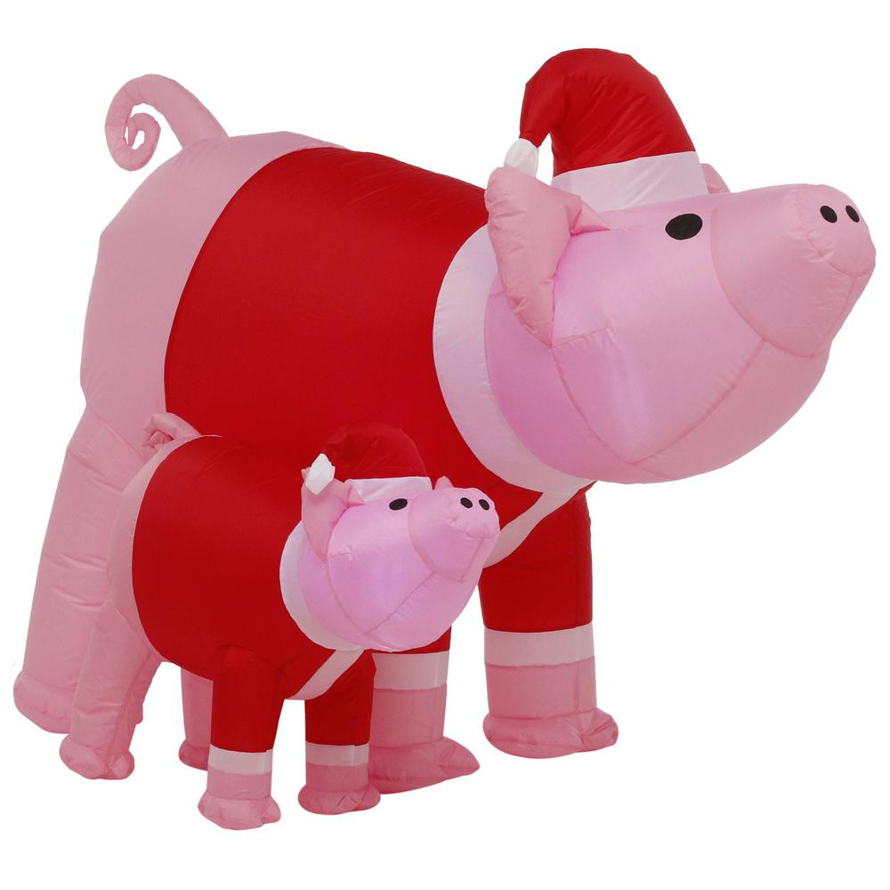 Christmas Pigs.6 Ft Pre Lit Inflatable Christmas Holiday Pink Pig With Small Pigs
