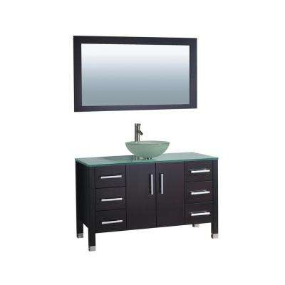 Cuba 48 in. W x 20.5 in. D x 36 in. H Vanity in Espresso with Glass Vanity Top in Aqua with Green Basin and Mirror