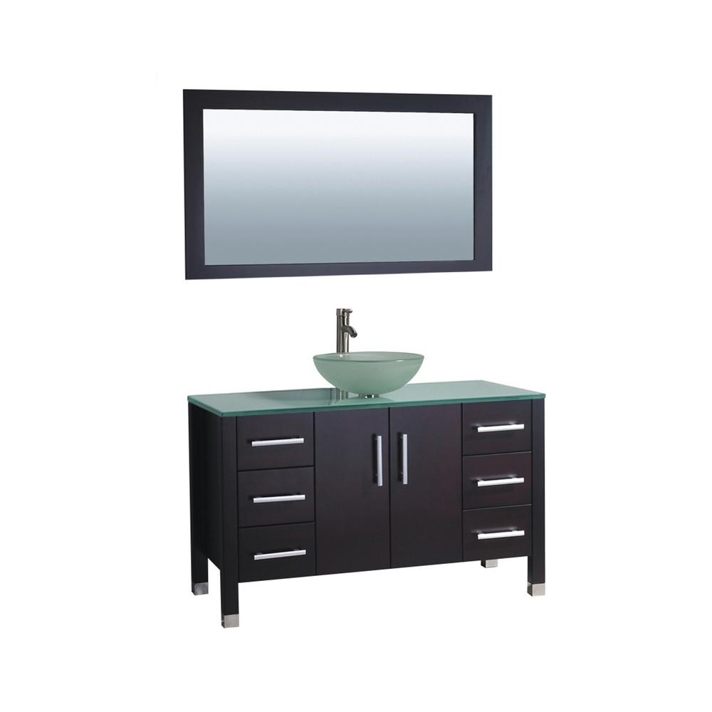 MTD Vanities Cuba 48 in. W x 20.5 in. D x 36 in. H Vanity in Espresso with Glass Vanity Top in Aqua with Green Basin and Mirror