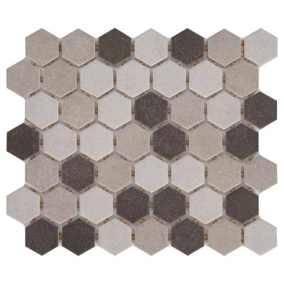 Modern Renewal Gray Blend Hex 10 in. x 12 in. x 6.35 mm Glazed Ceramic Mosaic Floor and Wall Tile (0.81 sq. ft. / piece)