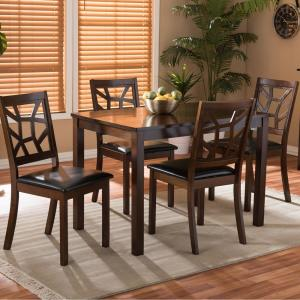 dining studio baxton piece lucy brown dark sets modern upholstered room faux mozaika leather furniture bettega parson living simple shape