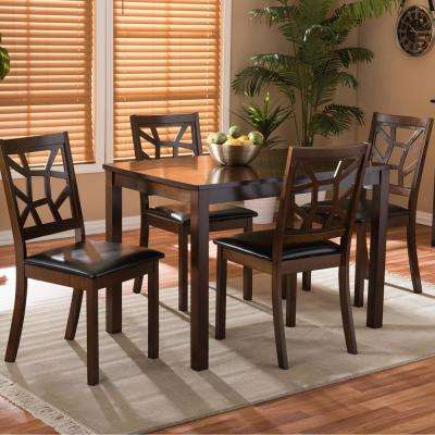 Mozaika 5-Piece Dark Brown Faux Leather Upholstered Dining Set
