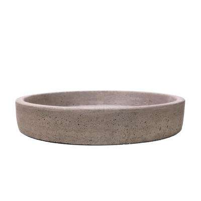 11 in. Dia Granite Aged Faux Cast Stone Saucer