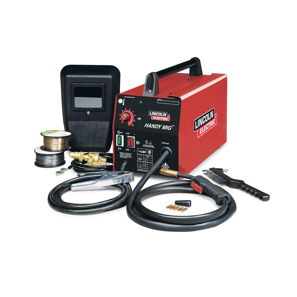Lincoln Electric 88 Amp Handy MIG Wire Feed Welder with Gun, MIG and  Flux-Cored Wire, Hand Shield, Gas Regulator and Hose, 115V