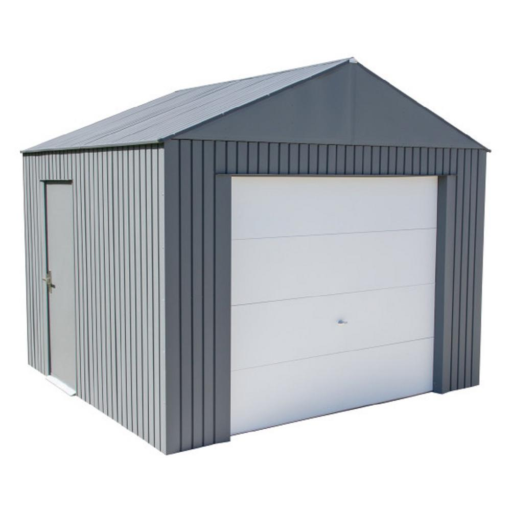 Sojag Everest 12 Ft H X 10 Ft W Charcoal Wind And Snow Rated Steel Garage Grc1210 The Home Depot