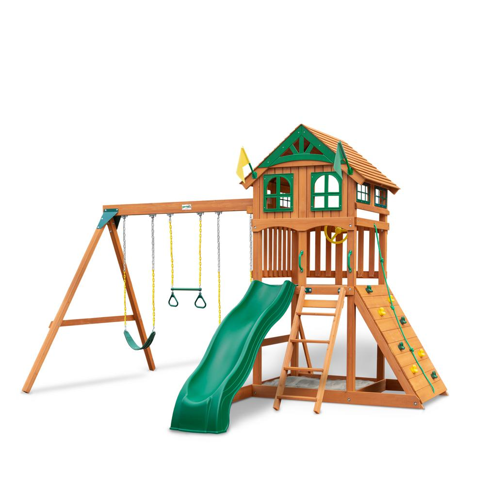 Gorilla Playsets DIY Outing III Wooden Playset with Wood Roof, Wave Slide and Rock Wall