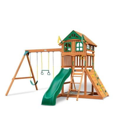 Installed Outing III Wooden Playset with Wood Roof, Wave Slide and Rock Wall