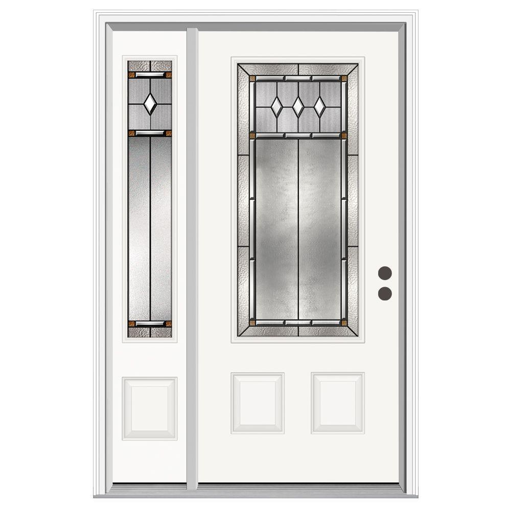 JELD-WEN 52 in. x 80 in. 3/4 Lite Mission Prairie Primed Steel Prehung Left-Hand Inswing Front Door with Left-Hand Sidelite