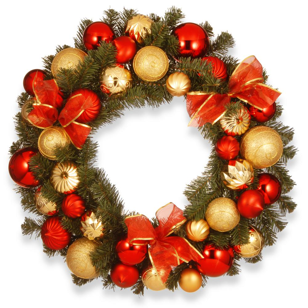 red and gold ornament artificial wreath