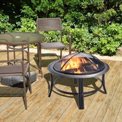 26 in. x 17 in. Round Steel Wood Burning Outdoor Fire Pit in Black