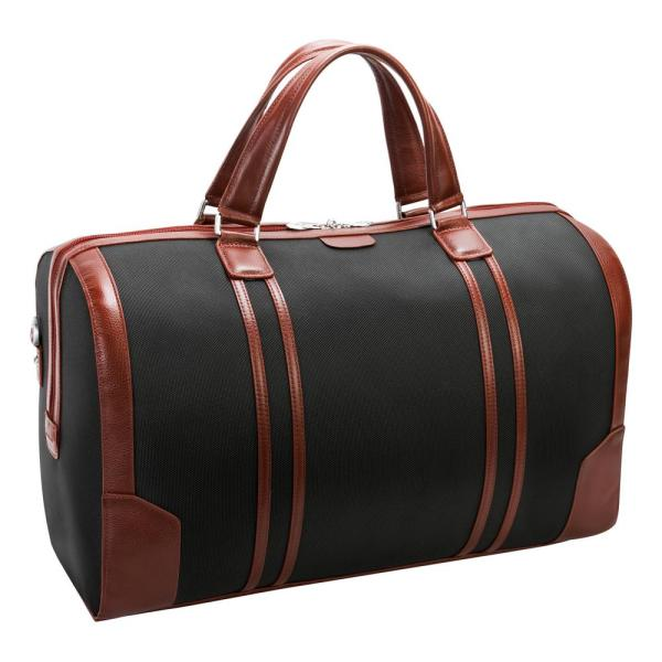 McKlein Kinzie, 20 in. Black 1680D Ballistic Nylon with Leather Trim 2-Tone Tablet Carry-All Duffel
