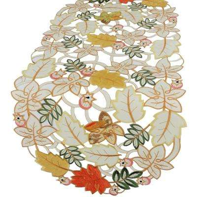 0.1 in. x 16 in. x 34 in. Harvest Splendor Embroidered Cutwork Fall Table Runner