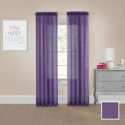 Victoria Voile 84 in. L Polyester Rod Pocket Drapery Panel Pair in Purple