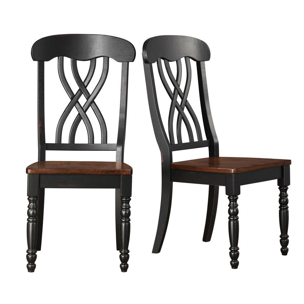 HomeSullivan 2-Toned Antique Black and Oak Dining Chair (Set of 2) - DISCONTINUED