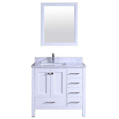 Shaker 36 in. W x 22 in. D x 34 in. H Vanity in White with Carrara Marble Top in White with White Basin