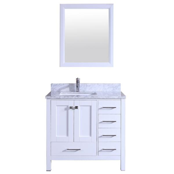 Shaker 36 In W X 22 In D X 34 In H Vanity In White With Carrara Marble Top In White With White Basin Tvn299 36wh The Home Depot