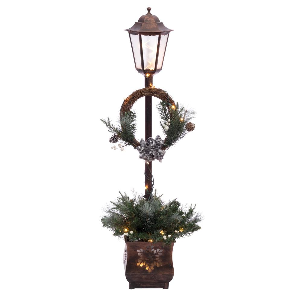 pre lit christmas lamp post with 35 multi ul listed lights - Light Post Christmas Decorations