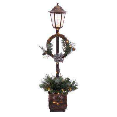 pre lit christmas lamp post with 35 multi ul listed lights - Outdoor Christmas Lamp Post Decoration