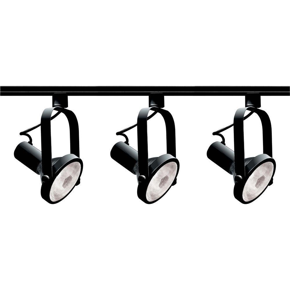 Glomar 3-Light PAR30 Black Gimbal Ring Track Lighting Kit