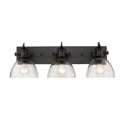 innovative design 96658 af5ef Hines 3-Light Black and Seeded Glass Bath Light