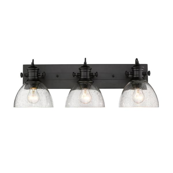 Hines 3-Light Black and Seeded Glass Bath Light