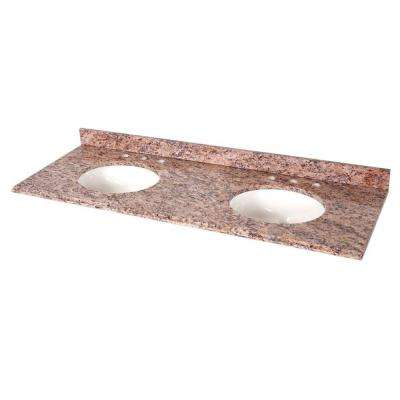 61 in.W x 22 in.D Stone Effects Double Bowl Vanity Top in Santa Cecilia with White Basin