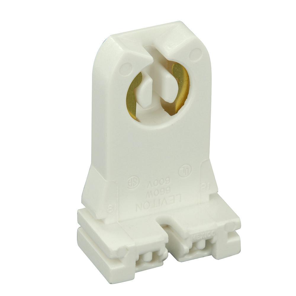 660W Medium Base Bi-Pin Tall Profile Slide-On Turn-Type Standard Fluorescent Lampholder, White