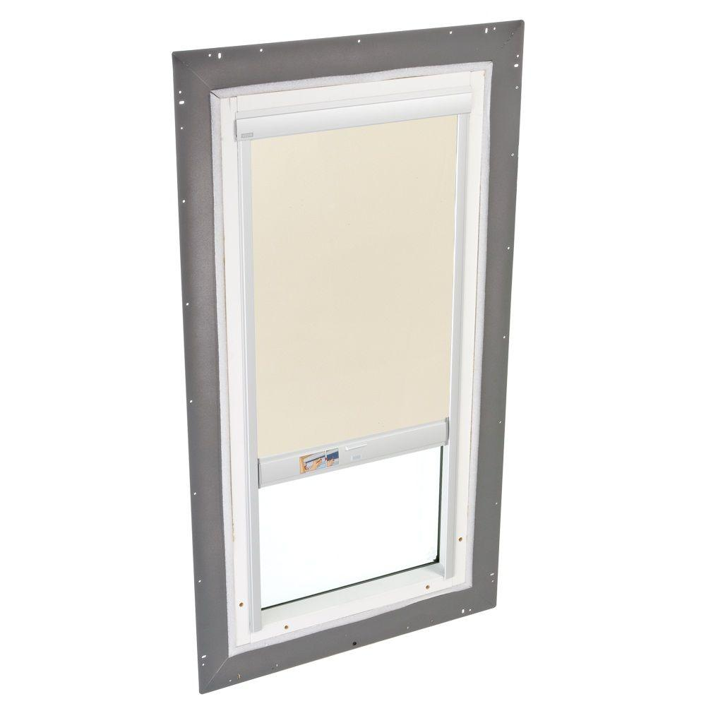 VELUX 22-1/2 in. x 46-1/2 in. Fixed Pan-Flashed Skylight with Tempered LowE3 Glass and Beige Solar-Powered Blackout Blind
