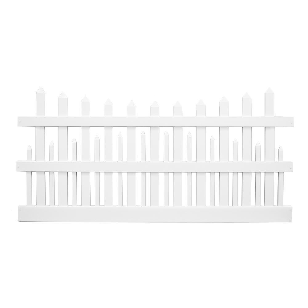 Salem 4 ft. H x 8 ft. W White Vinyl Picket Fence Panel Kit