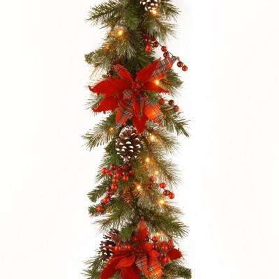 Decorative Collection 9 ft. Tartan Plaid Garland with Battery Operated Warm White LED Lights