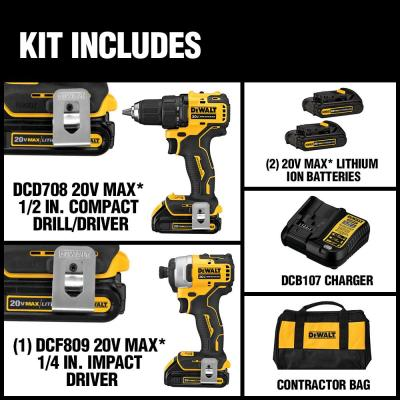 ATOMIC 20-Volt MAX Lithium-Ion Brushless Cordless Compact Drill/Impact Combo Kit (2-Tool) 2 Batteries 1.3Ah and Charger