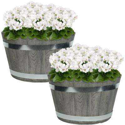 Chateau 14 in. Gray Fiber Clay Round Barrel Durable Indoor/Outdoor Use Planter Flower Pot (Set of 2)