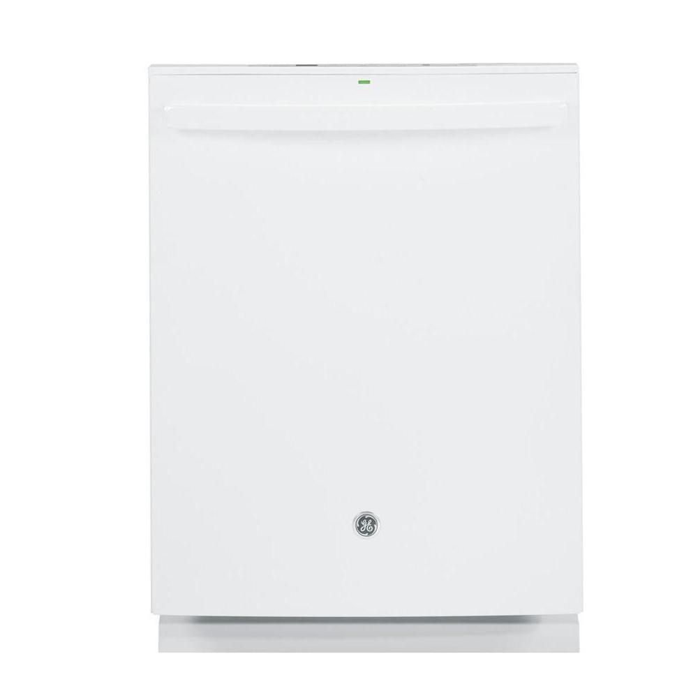 GE Top Control Dishwasher in White with Stainless Steel Tub and Steam Prewash, 45 dBA