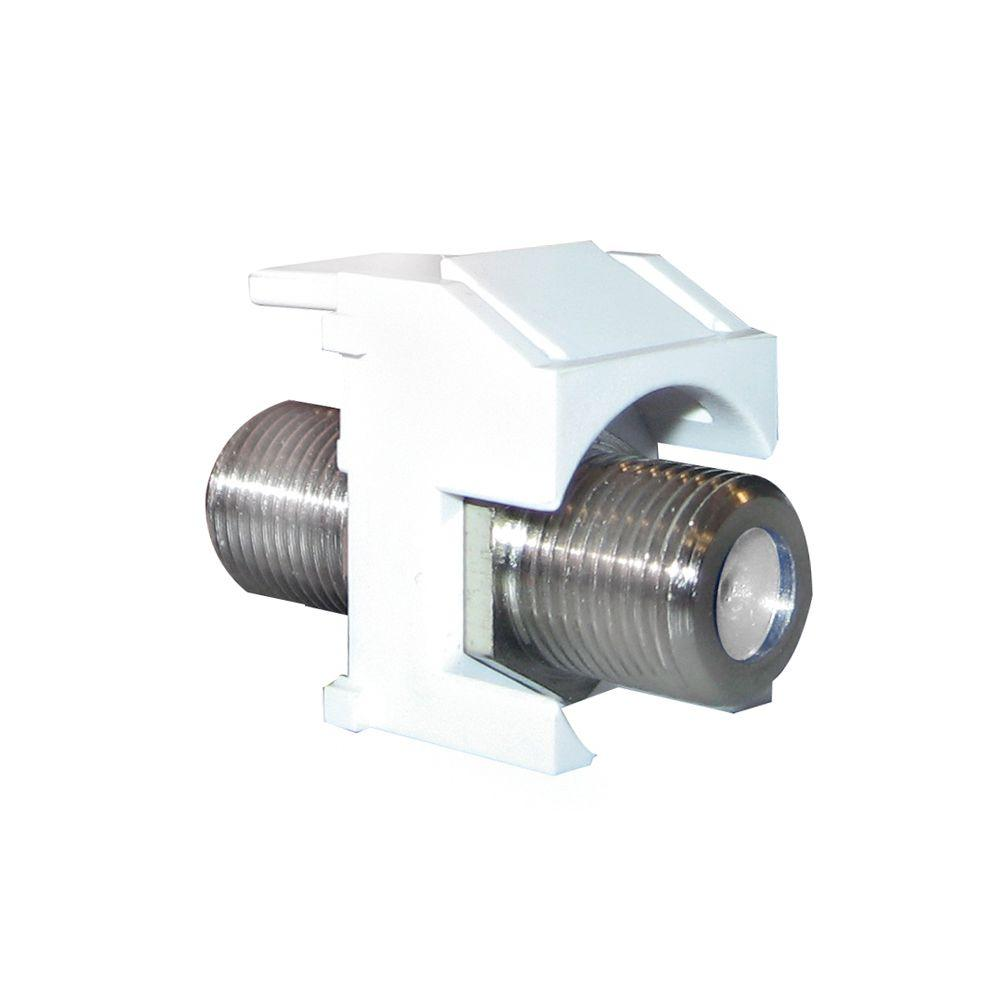 Keystone Nickel Recessed F-Connector - White