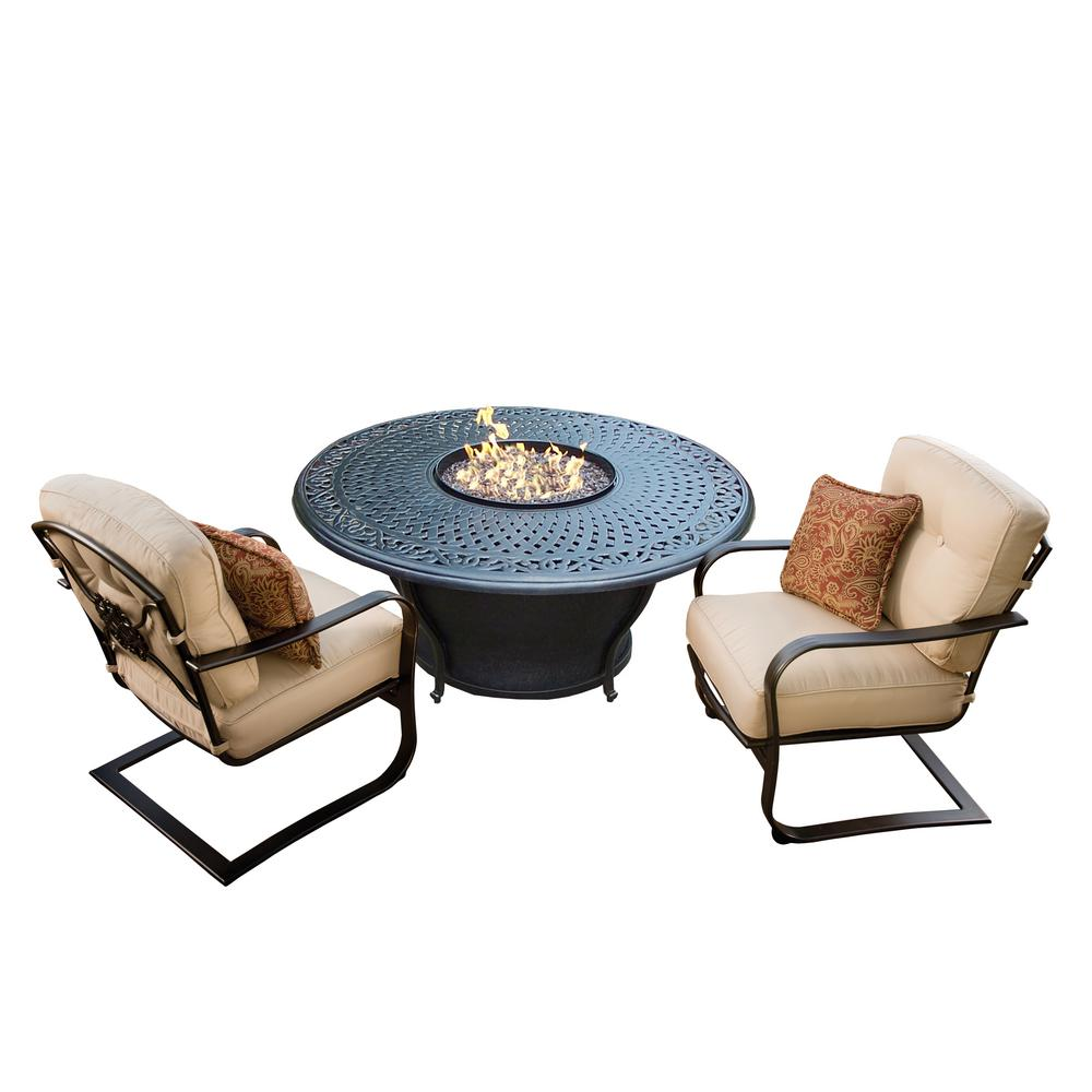 Caledonia 3-Piece Aluminum Patio Fire Pit Conversation Set with Oatmeal Cushions