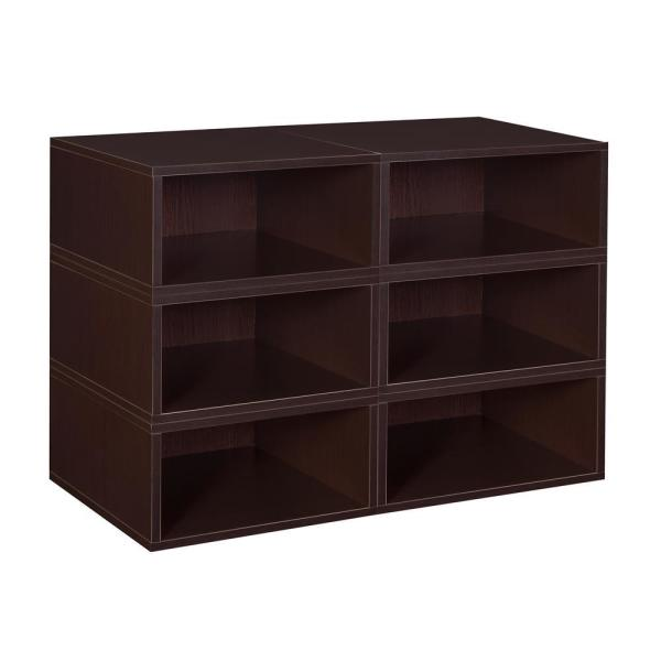 Regency 13 In H X 39 In W X 13 In D Truffle Wood 6 Cube Storage Organizer Hdchpc066pktf The Home Depot