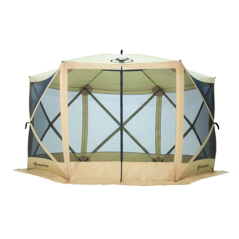 Tall Heavy Duty 6-Sided Portable Gazebo with 8-Person  sc 1 st  The Home Depot & Gazelle 7 ft. Tall Heavy Duty 6-Sided Portable Gazebo with 8 ...